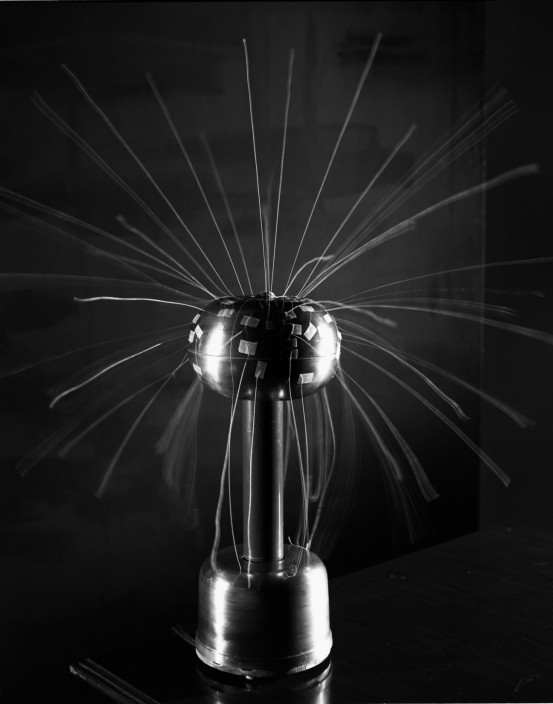 David Goldes. Van der Graaf Generator with Attached Threads, 2011. From the series Electricity Pictures. Gelatin Silver Print.