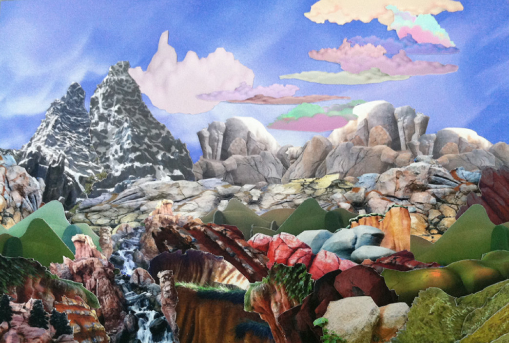 Mary Anne Kluth, Master Study, The Teton Range, 2013. Hand cut archival photo collage.
