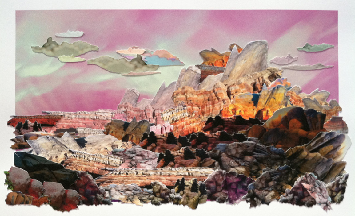 Mary Anne Kluth, Master Study, Green River, Wyoming, 2013. Hand cut archival photo collage.