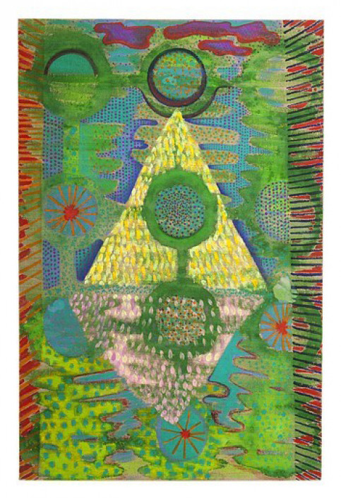 Natessa Amin, Point Drop Dot, 2016. Acrylic and dye on linen. Courtesy of the artist.