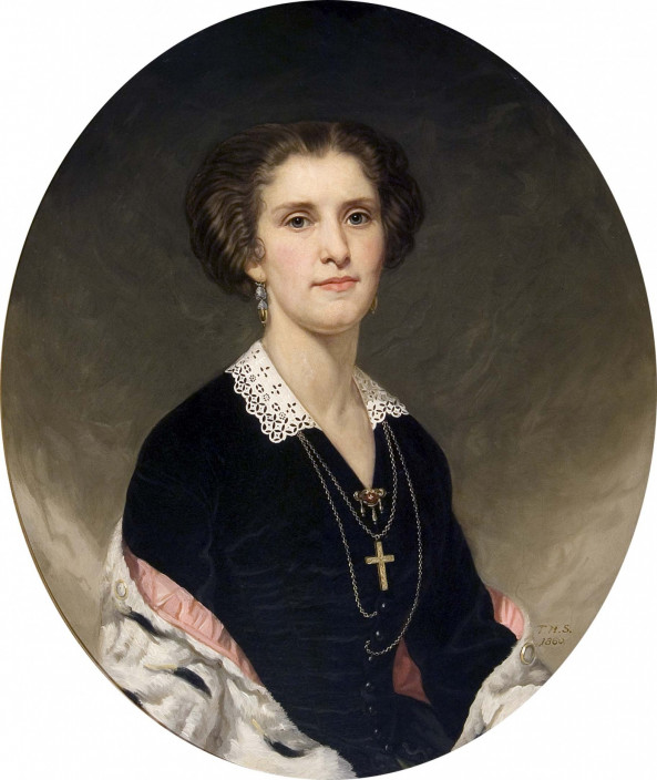 Artist with initials T.H.S., Portrait of Mrs. Chevalier Jackson, 1860. Oil on canvas, 30 x 25 inches.