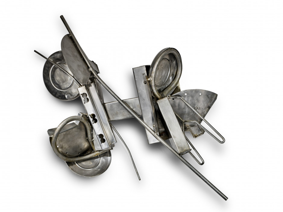 Dina Wind, Wall Discs, 1990. Stainless steel. 29 x 40 x 12 inches. Courtesy of the Wind Family.