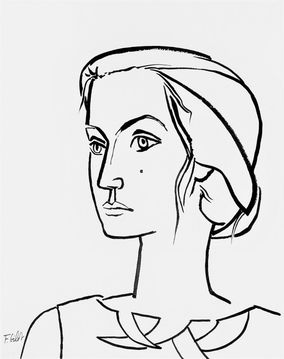 Françoise Gilot, Self-Portrait with Hair in Bun, n.d. Ink on paper. Gift of Muriel and Philip Berman.