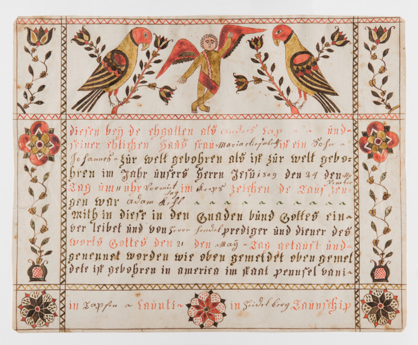Cross-Legged Angel Artist, Birth and Baptism Certificate, c. 1810. Watercolor and ink on laid paper. Acquired from the Pennsylvania Folklife Society.