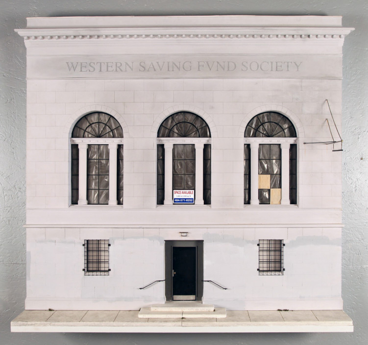 Drew Leshko. Western Saving Fund Society, 2013. Illustration board, wire, plaster, paper, basswood, acrylic, enamel.