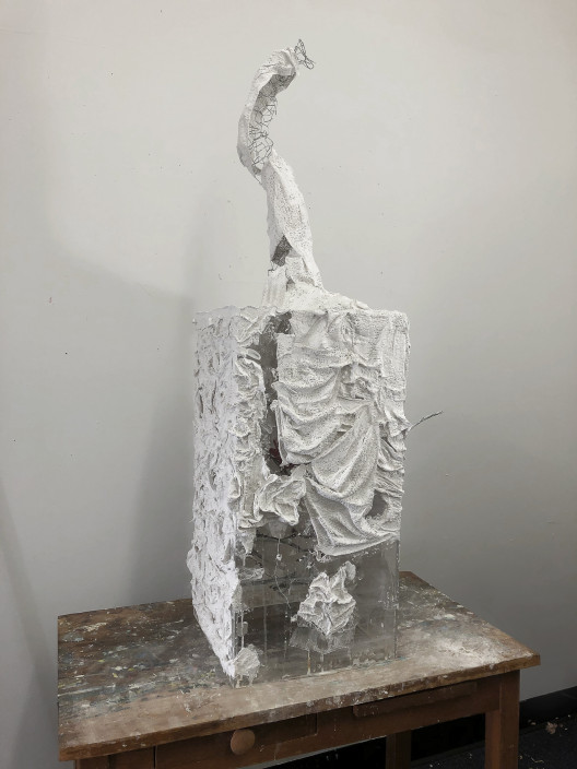 Joseph Simon, 4lbs, 2020. Plaster gauze, chicken wire, glass pedestal. Approx 3 feet in height.