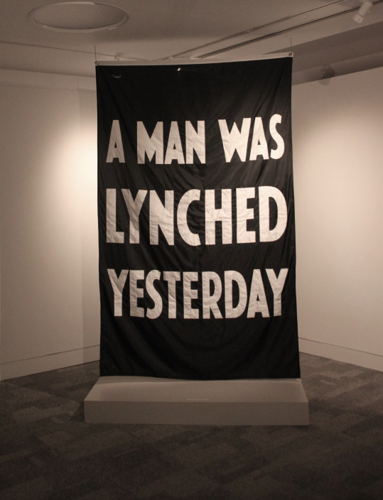 Terry Adkins, A Man Was Lynched Yesterday, 2009. Polyester fabric. 58 1/4 x 92 inches. Courtesy of the Estate of Terry Adkins and Salon 94, New York.