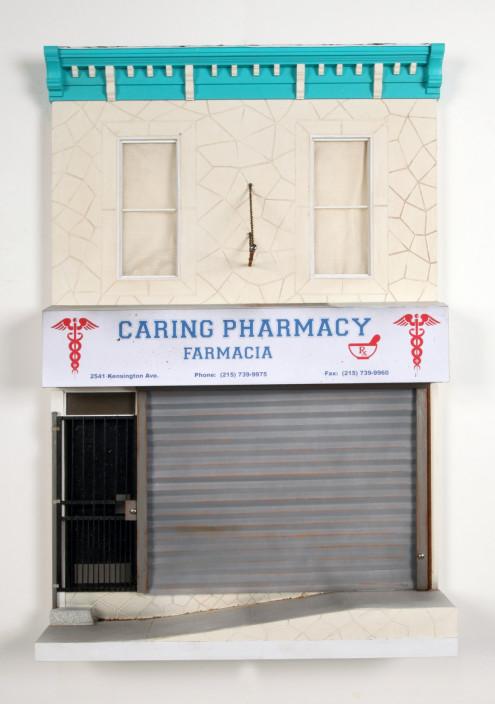 Drew Leshko. Caring Pharmacy, 2014. Illustration board, wire, plaster, paper, basswood, acrylic, enamel.