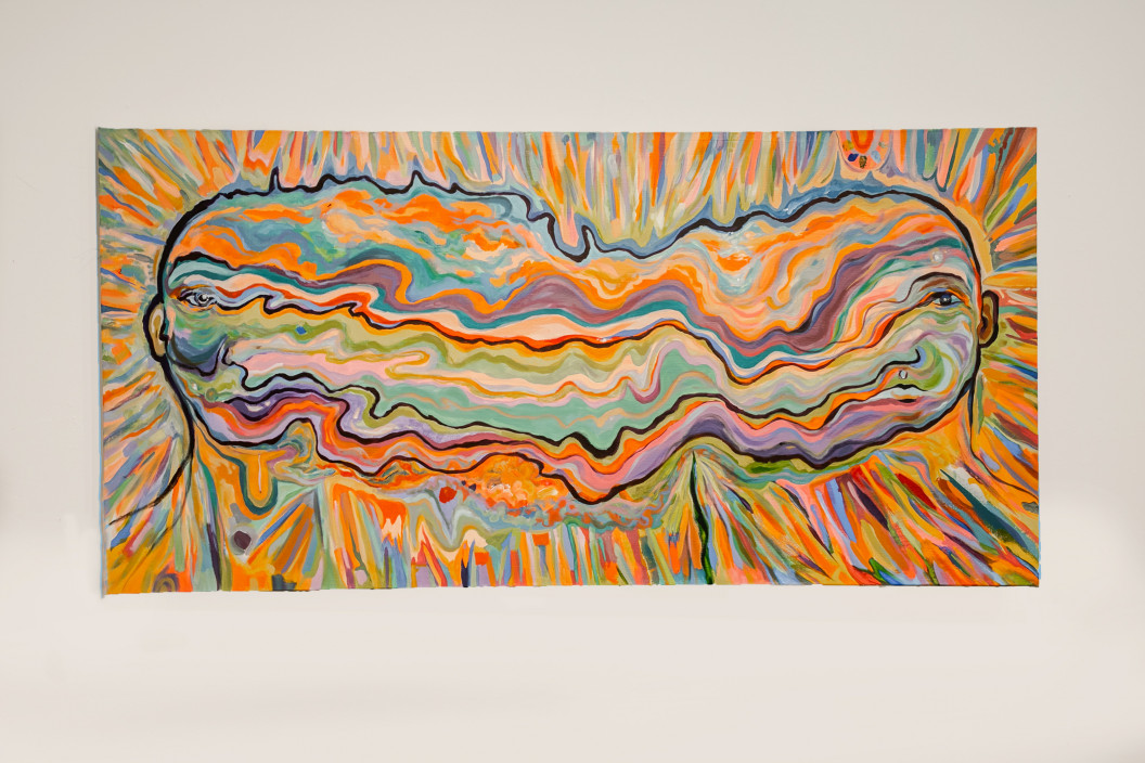 Sarah Marchione, Cosmic Dissonance, 2020. Acrylic on canvas. 52 x 26 inches.