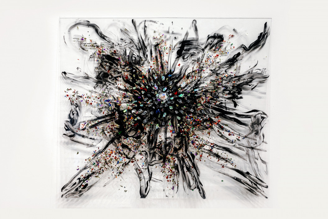Sarah Marchione, Big Bang, 2021. Acrylic, confetti, glass on glass panel. 28 x 24 inches.