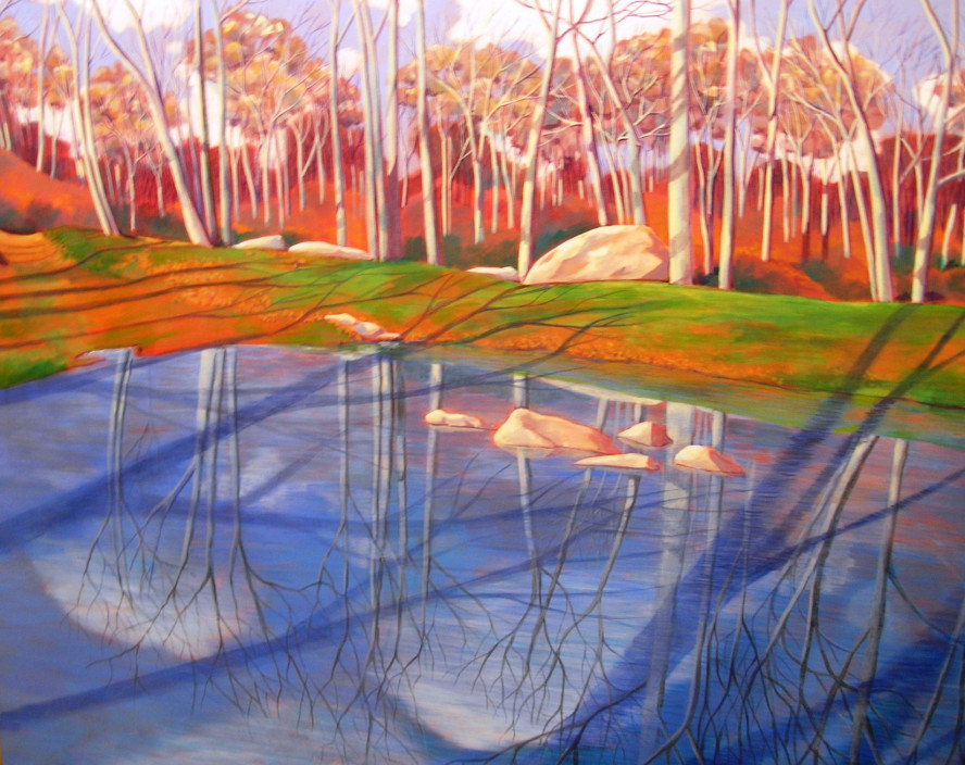 Barbara J. Zucker.  Stone Hill Series XIV Reflections and Shadows, 2001.  Acrylic on Canvas.