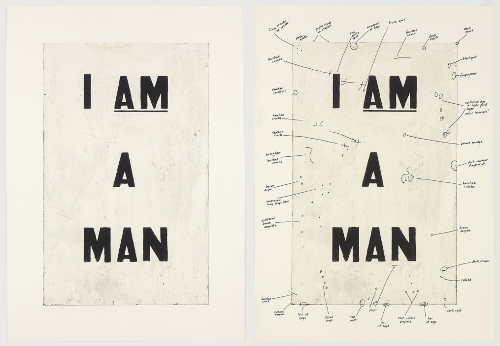 Glenn Ligon, Condition Report, 2000. Iris print with serigraph, 2 parts. 32 x 22 ¾ inches each.