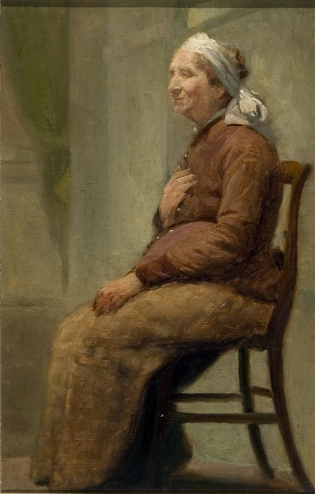 Albert Jean Adolphe, Old Peasant Woman, before 1940. Oil on board.
