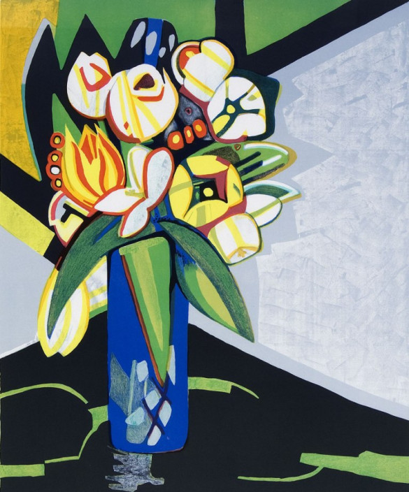 Françoise Gilot. Tulips, 1991. Chromolithograph on paper.