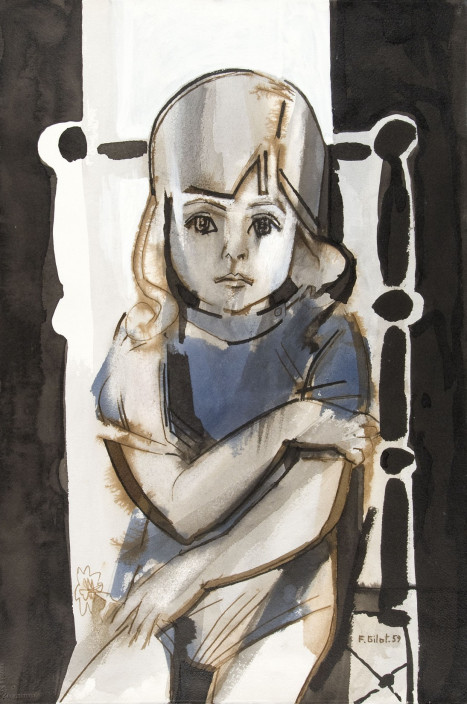 Françoise Gilot. Aurelia in Blue with Daisy, 1959. Ink and ink color wash on paper.