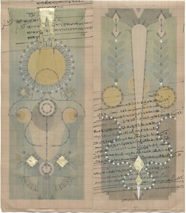 "Louise Despont. ""Dandelion Constellation II,"" 2014. Graphite, colored pencil, ink, and gold leaf on antique ledger book paper. 13 ½ x 12 ¼ in."
