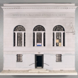 Drew Leshko. Western Saving Fund Society, 2013. Illustration board, wire, plaster, paper, basswood, acrylic, enamel. Court...