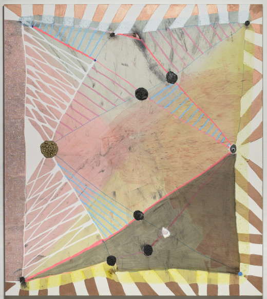 Laurel Sparks, Cat's Cradle, 2013. Acrylic, marble dust, glitter, paper mache, jingle bells, pigment, ink on raw canvas, 58 x 42 inches