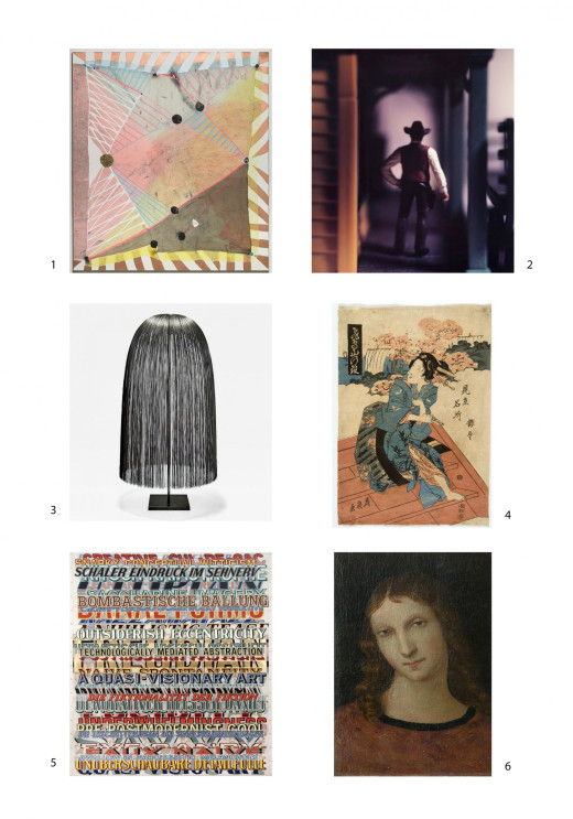 1. Laurel Sparks, Cat's Cradle, 2013. 2. David Levinthal, Wild West Sheriff 11-94, 1994.3. Harry Bertoia, Weeping Willow, n.d.4. Keisai Eisen, Japanese Print, 1790-1848.5. Joe Amrhein, Detailfulle, 2008.6. Artist, Painting, Year