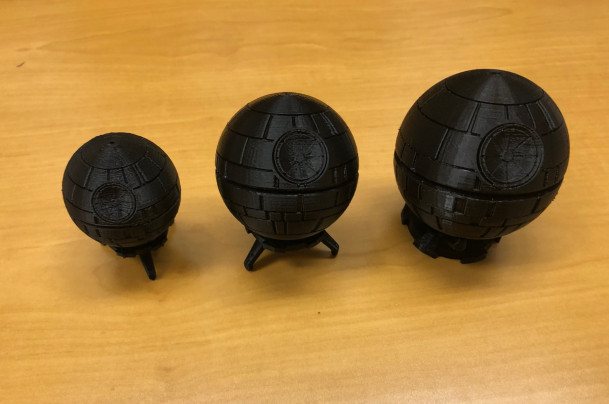 Death Stars created by Tiffini-Amber Eckenrod using the 3D Printer in the U-Imagine Center.
