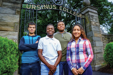 (L to R): Damian Vicencio, Valentino Alfonce, Keyon Williamson and Jailene Rodriguez came to Ursinus together from Olney Charter High School.