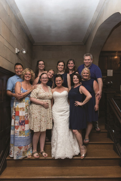 Jacquelyn Hickey Rothera '99 and Chas Rothera were married on July 23, 2016. Back row L to R: H...