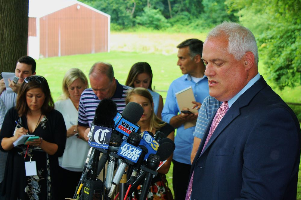 Weintraub News Conference. Photo courtesy of Larry R. King, Bucks County District Attorney's Offi...