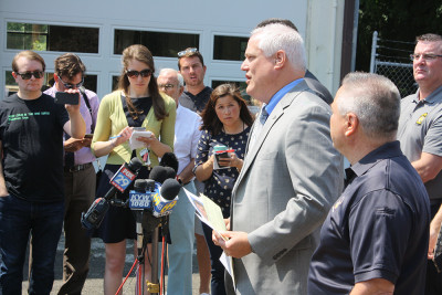 News Conference. Photo courtesy of Larry R. King, Bucks County District Attorney's Office communi...