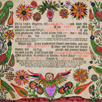 Fraktur drawing attributed to Daniel Otto, Northumberlandor Centre County, PA, 1800–1820. Berma...