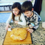 Children making bread during COVID-19