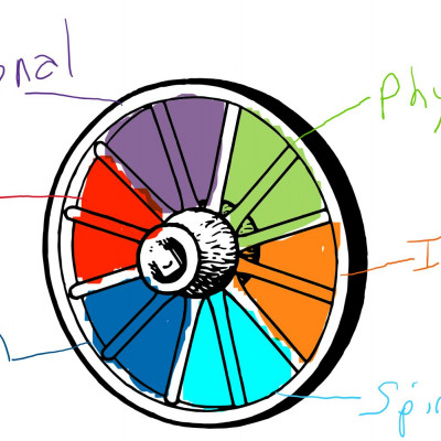 a wheel labeled with 6 spokes - physical, mental, spiritual, social, financial, and intellectual.