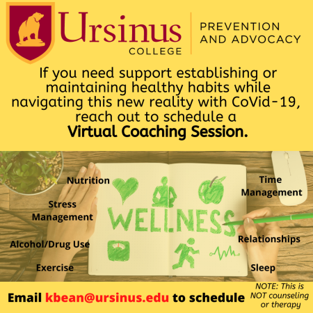 Virtual Coaching: email Kbean@ursinus.edu to schedule an appointment.