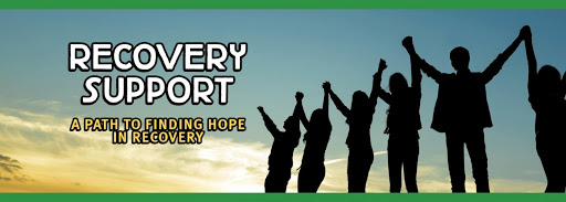 recovery support words with image of people holding hands high in the air