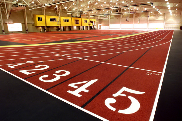 Indoor track at the Floy Lewis Bakes Center