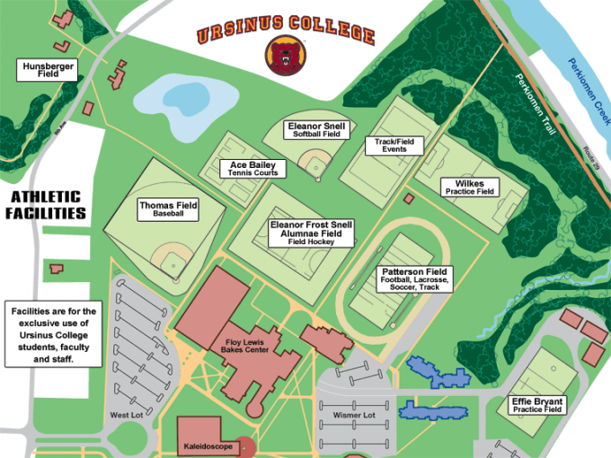 Map of athletics facilities at Ursinus College.