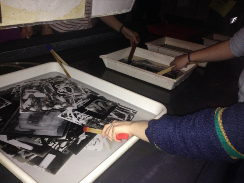Photogram workshop in the darkroom