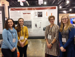 Danielle Uibel ('18), Dorothy Benton ('18), and Amanda Otto ('18) with their research mentor, Dr. Rebecca Lyczak