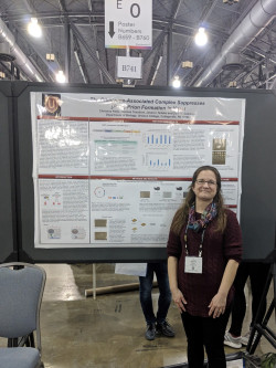 Dr. Christina Kelly, research assistant in Dr. Dale Cameron's lab, presenting her work at the 2017 ASCB meeting.