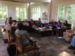 Faculty from the Biology Department held their annual summer retreat at the home of President Blomberg.