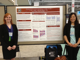 Amy Galvin ('14) and Jin-Sun Kim ('14) presenting their research at the Experimental Biology Meeting in Boston, MA.