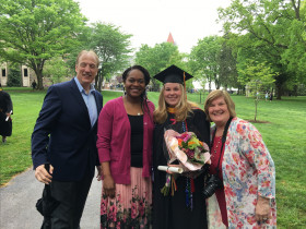 Sara Vukus, 2018 graduate and 2018 president of the Ursinus College Chapter of the Beta Beta Beta Biology Honor Society with her parents and her advisor, Dr. Jennifer King. Sara earned her certification in biology teaching at Ursinus College and will be pursuing a career in teaching in the fall of 2018.