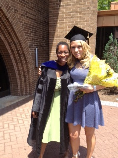 Dr. Favero with her research student Jennilyn Weber ('13) at Commencement.  Jennilyn is now studying at the LECOM school of pharmacy.
