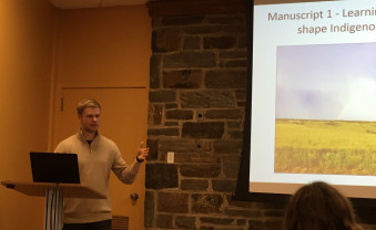 "Erich Keyser, a 2016 Biology graduate, presented his graduate research project entitled ""Collaborative Conservation: ..."