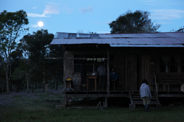 "The bunkhouse at dawn, lit by the ""supermoon."""