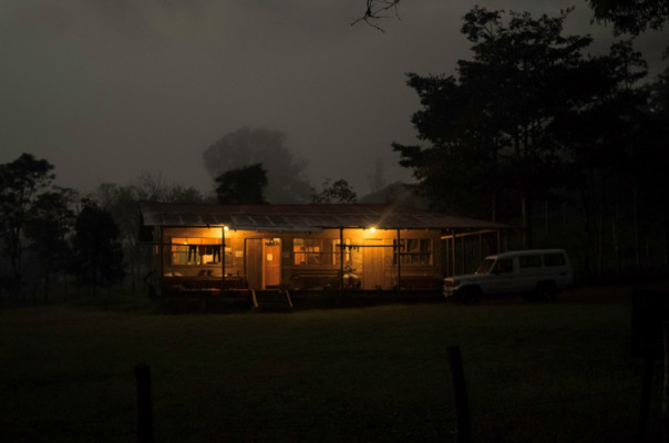 The bunkhouse at night.