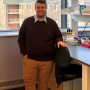 Connor Loomis at his lab bench right after defending his thesis in December 2019.