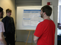 Students discussing research