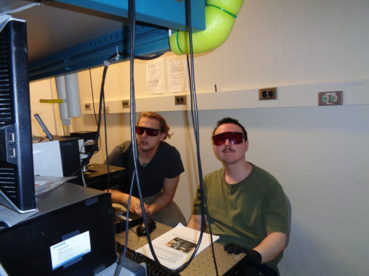 Jon and Elliott use a Raman spectrometer at MIT to measure the diameters of carbon nanotubes