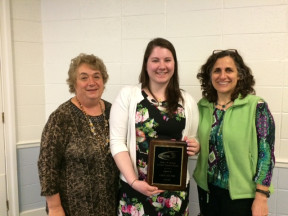 Math major Cara Sulyok with faculty members Rosemarie Wait and Lisa Grossbauer