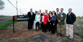Members of the Whittaker Family, ENV, and Biology celebrate the dedication of WERS